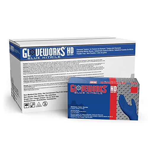 GLOVEWORKS HD Industrial Blue Nitrile Gloves - 6 mil, Latex Free, Powder Free, Diamond Texture, Disposable, Large, GWRBN46100, Case of 1000