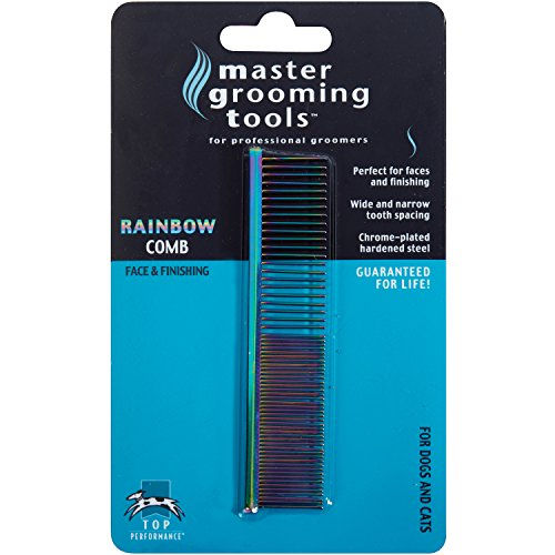 - Master Grooming Tools Rainbow Greyhound Combs - European-Style Combs for Grooming Dogs - Fine/Coarse, 7½