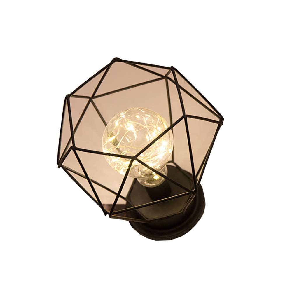 LIUHUA Vintage Desk Lamp Metal Shade Edison Bulb Night Light, Battery Powered Lamp Bedroom Wedding Christmas Home Decor (A)
