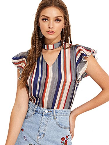 (WDIRA Women's Choker Neck Cap Sleeve Striped Ruffle Blouse Shirt Top Multicolor L)