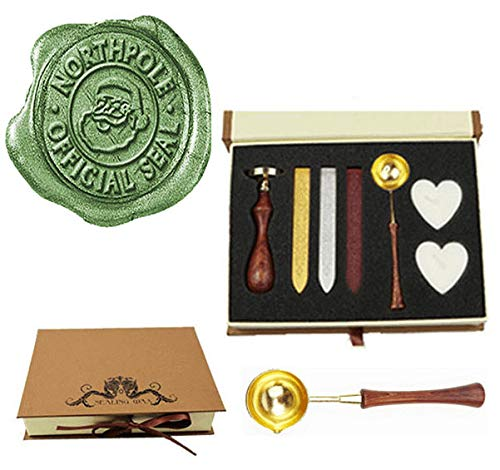 us Northpole Official Wax Seal Stamp Embellishment Wedding Invitation Card Mail Gift Wrap Wine Package Wood Handle Melting Spoon Sealing Wax Stick Box Christmas Wax Seal Stamp Set ()