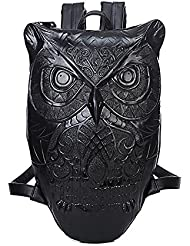 Punk Unisex Leather 3D Owl Backpack Purse Satchel Daypack Knapsack for Women Men