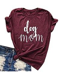 Womens Dog Mom Neck Neck T-Shirt Funny Moms Gift Short Sleeve Family Tee Tops