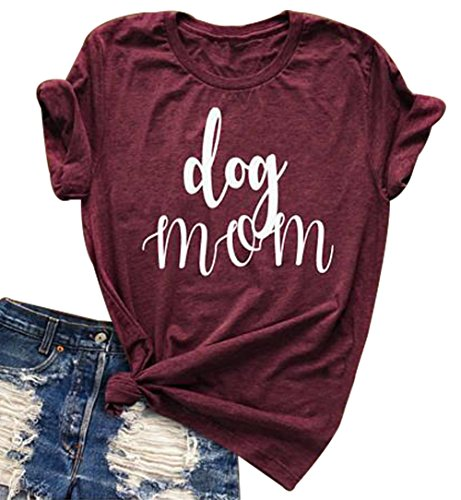 Cute Dog Shirts - Womens Dog Mom V Neck T-Shirt Funny Moms Gift Novelty Animal Family Tee Tops Size XL (Red Wine)