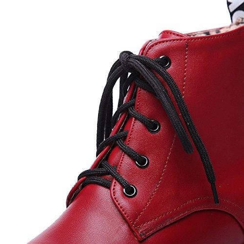 Bout Femmes Agoolar Bas Rond Pu Lacets Rouges Bottes Des À Solides Talons wqfnpCw4