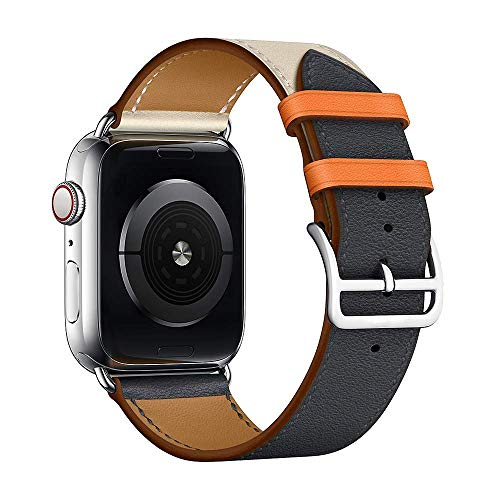 Leather Single Tour Band Strap Replacement Smartwatch Wristband Bracelet Compatible with 44mm Apple Watch Series 4, 42mm Apple Watch Series 3/2/1 (Indigo/Craie/Orange)