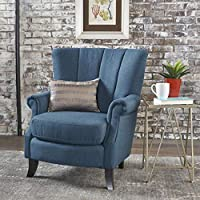 Christopher Knight Home 301417 Izara-CKH Arm Chair, Navy Blue + Dark Brown