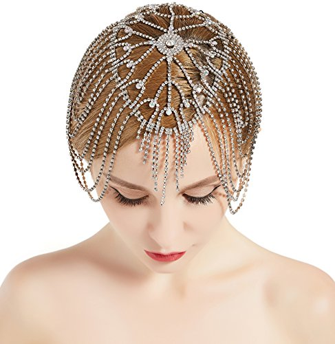 Vintage Bridal Headpieces - BABEYOND Vintage Bridal Headpiece Roaring 20s Crystal Rhinestone Flapper Cap Headpiece for Wedding (Silver)