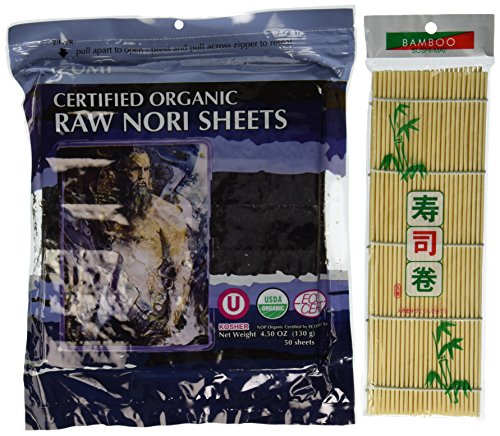 Raw Organic Nori Sheets 50 qty Pack + Free Sushi Roller Mat! - Certified Vegan, Raw, Kosher Sushi Wrap Papers - Premium Unheated, Un Cooked, untoasted, dried - RAWFOOD by RawNori