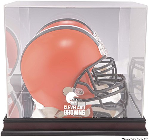 Mounted Memories Cleveland Browns Mahogany Helmet Logo Display Case and Mirror Bottom and Back - Case Display Browns Logo