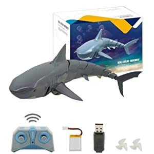 RC Shark Boat Toy for Kids Adults, 2.4G Remote Control Electronic Fish Simulation Animal Water Toys 3 Speed 4 Channel RC Ships for Swimming Pool and Lake, Ideal Summer Gift for Children