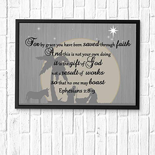 For by grace you have been saved through faith. And this is not your own doing; it is the gift of God,...Art Print, Bible Verse Wall Art,Scripture Gifts,Bible Quote Print,Christian Art 12x10in Framed (We Have Been Saved By Grace Through Faith)