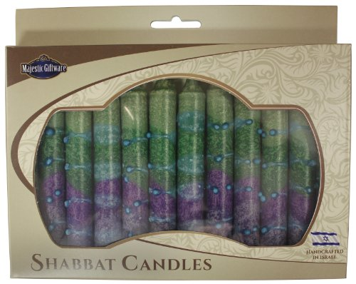 Majestic Giftware SC-SHSR-G Safed Shabbat Candle, 5-Inch, Sunrise Green, 12-Pack 12 Safed Shabbat Candles