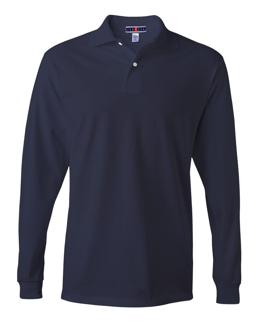Jerzees Men's Jersey Long Sleeve Polo with Spotshield, J Navy, Large