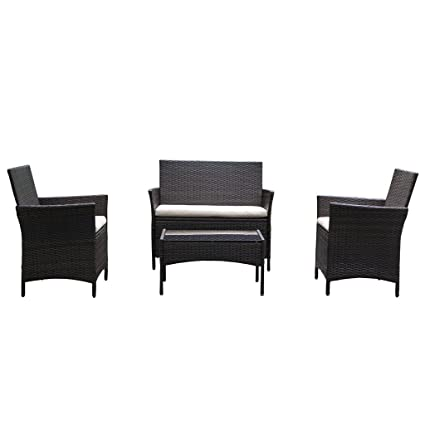 On Patio Furniture Ratten Dining Sets 4PCS With Beige Cushion, Outdoor  Wicker Sofa - Amazon.com: On Patio Furniture Ratten Dining Sets 4PCS With Beige