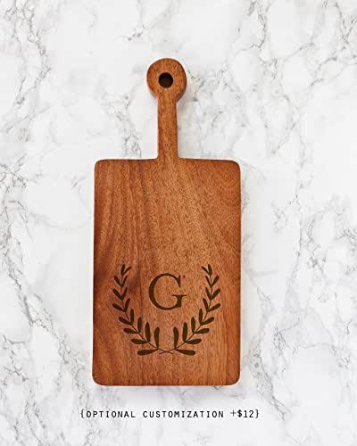 """Hand Carved African Teak Wood Cutting Board with Handle - 6 x 9"""" // Personalized housewarming gift, wedding gift, cooking gift"""