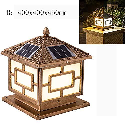 (LGFA LED Solar Column Headlight Landscape Decoration 55 Level Waterproof and dustproof Automatic Sensor Light Intelligent Light Control Solar Power lamp,B)