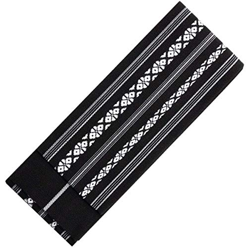 KYOETSU Men's Japanese Kaku Obi Kimono belt Cotton (Black) ()