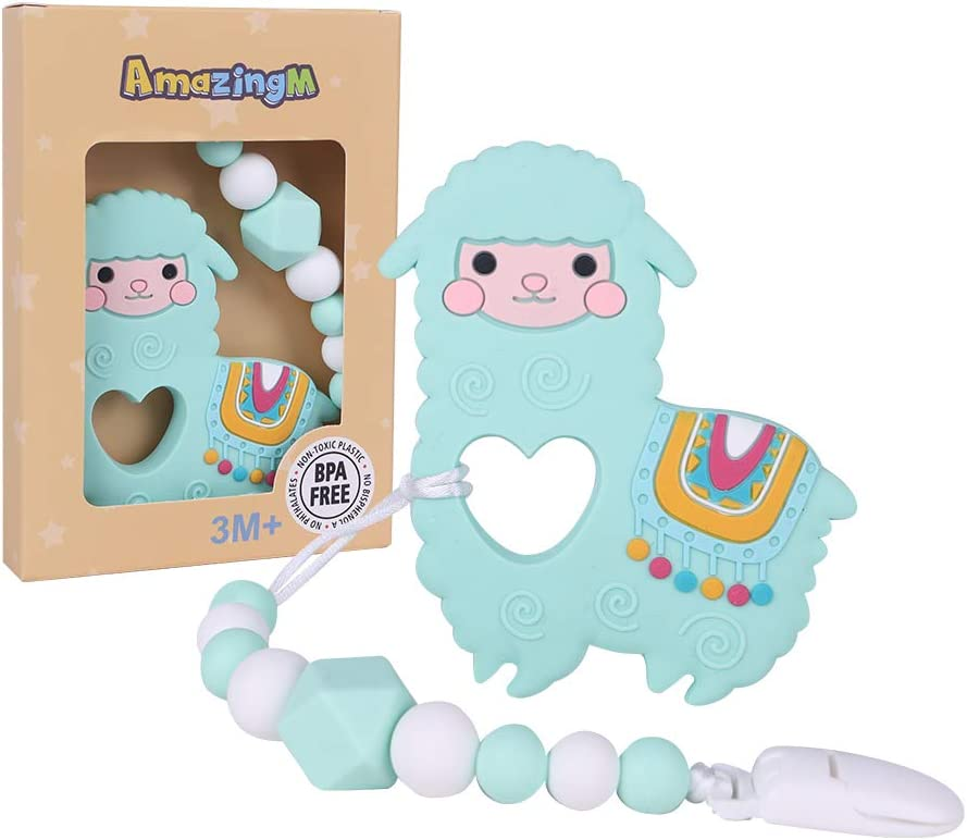 AmazingM Llama Teething Pain Relief Toy with Pacifier Clip,Food Grade BPA Free Silicone Teether,Freezer Safe,Teething Egg for Boy and Girl (Light Green)