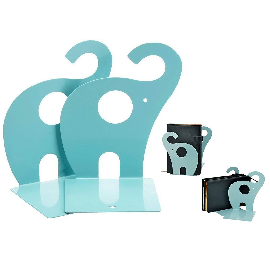 Itian Cute Elephant Bookends Nonskid Art Bookend Gift Blue 1 Pair