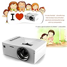 Mini Projector, MYBDJ UC18 Portable Video Mini Projector for Home Theater Video Games hdmi to vga led Lamp Laptop Support HDMI USB AV Interface Ideal for Video Games, Movie Night, Family Videos (white)