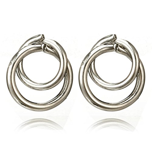 Studs Earrings for Women, Sacow Lady Girls Punk Tone Bamboo Bling Big Hoop Joint Hiphop Circle Pierced Earrings (Silver)