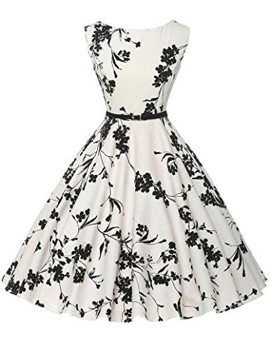 Damen rockabilly kleid 50er jahre kleid Blumenmuster festliche kleider Sommerkleid knielang M