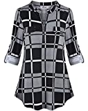 Tencole Women Blouses Tops, Lightweight Womens Blouse Long Sleeve Polo Shirts with Band Rayon Tops for Women 3/4 Sleeve Plaid Shirts