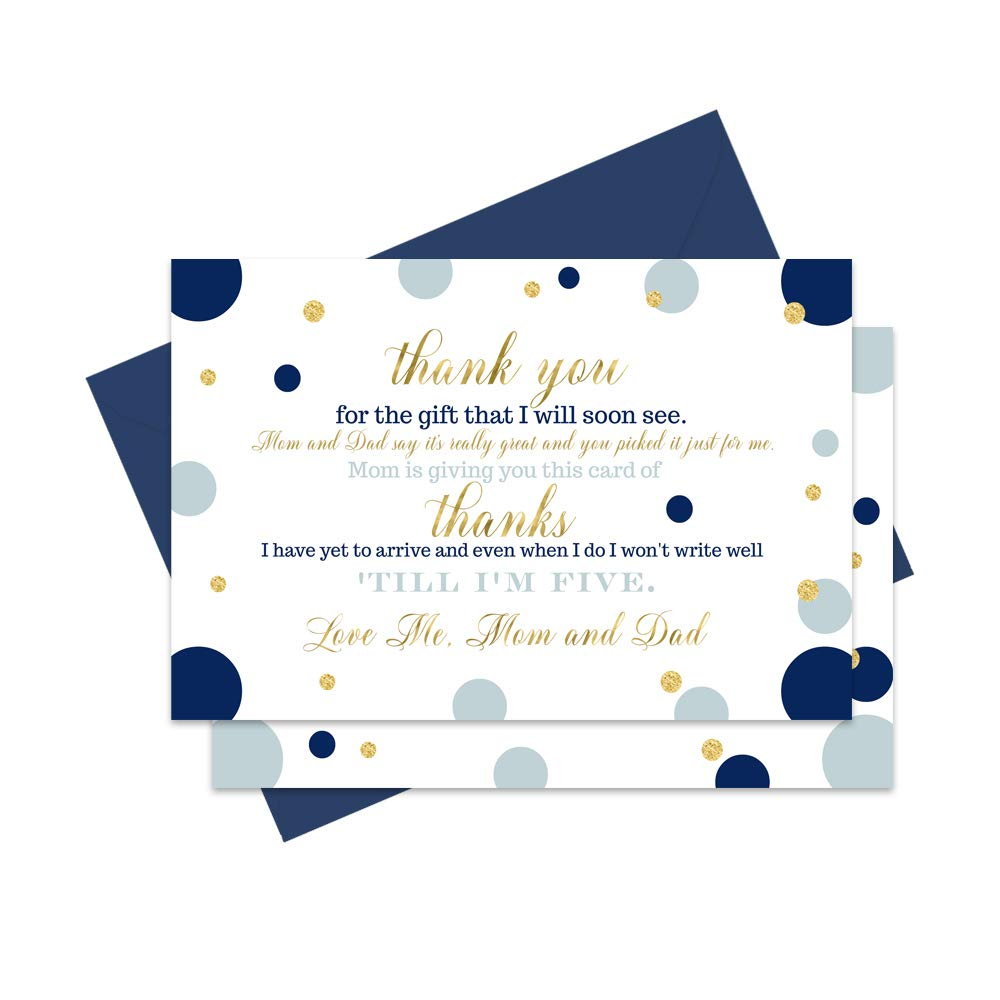 Navy and Gold Baby Shower Thank You Cards and Blue Envelopes 15 Pack