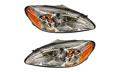 Evan-Fischer EVA13572056350 New Direct Fit Headlight Head Lamp Set of 2 Composite Clear Lens Chrome Interior Halogen With Bulb(s) Driver and Passenger Side Replaces Partslink# FO2503169, FO2502169
