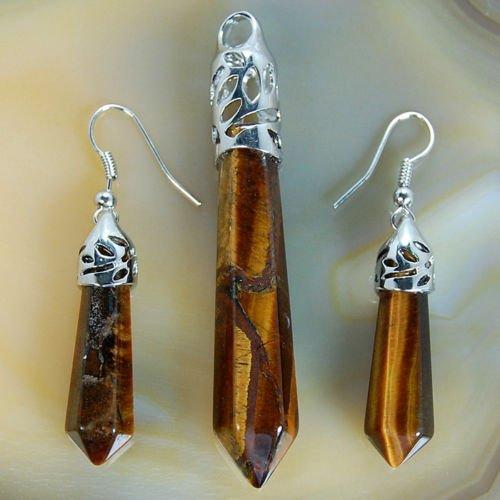(Natural Gemstones Hexagonal Pointed Reiki Chakra Pendant and Earrings Set (Yellow Tiger Eye))