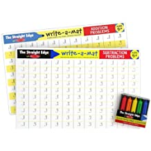 Math Problems II Write-a-Mat w/ Crayon Bundle for Ages 5+: Addition & Subtraction - The Straight Edge Series