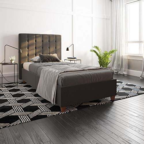 (DHP Emily Upholstered Linen Platform Bed with Wooden Slat Support, Tufted Headboard, Twin Size - Grey)