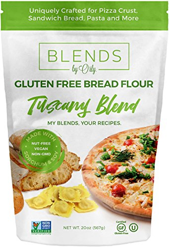 Premium Gluten Free Bread Flour - Baking Flour for Gluten Free Bread, Gluten Free Pizza Crust, Gluten Free Burger Buns, Gluten Free Pasta & Gluten Free Focaccia from Tuscany Blends by Orly 20 OZ (Gluten Free Focaccia Bread)