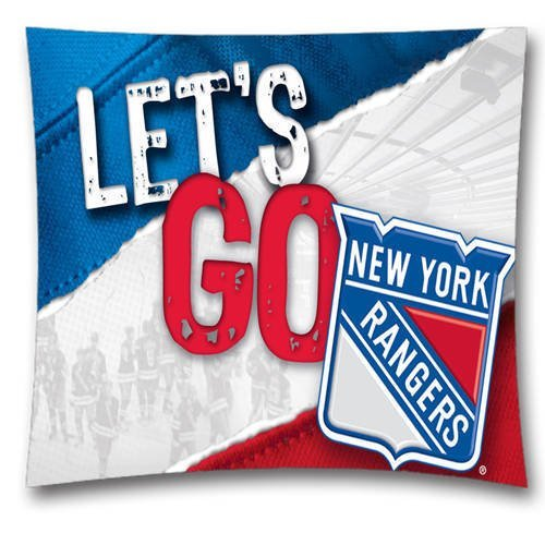 NHL Throw Pillow Cushion Covers, New York Rangers Square Decorative Throw Pillowcases, Pure Cotton, Bedding, Sofa, Couch, Size: 18x18 inches (45x45 cm) Ball Game Theme 4533 (Ny Throw Pillow)