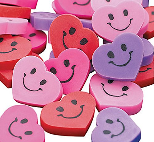 Smile Face Heart Erasers (48 ~ Heart Smile Face Mini Erasers ~ 3/4