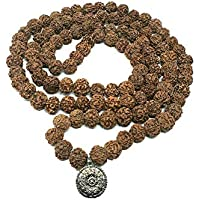 Naturally Grown Authentic Old Rudraksha Bead with Bigger Size 16 mm. 5 Face Rudraksha Mala with 108 Bead Plus OM Pedant…