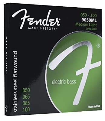 Fender 9050 Stainless Steel Flatwound Long Scale Electric Bass Guitar Strings
