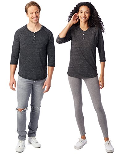 Alternative Men's Raglan 3/4 Sleeve Henley Shirt, Eco Black, Large