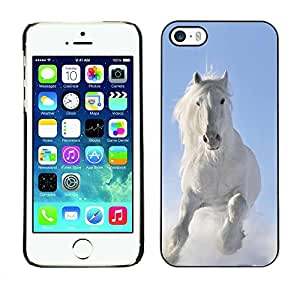 PC/Aluminum Funda Carcasa protectora para Apple Iphone 5 / 5S Majestic White Winter Horse / JUSTGO PHONE PROTECTOR