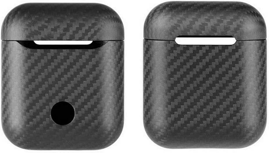 Supports Wired /& Wireless Charging Safedome Genuine Carbon Fiber Airpods 1/&2 Cover Case Glossy Black Front LED Visible and Ultra Slim Shockproof Protect