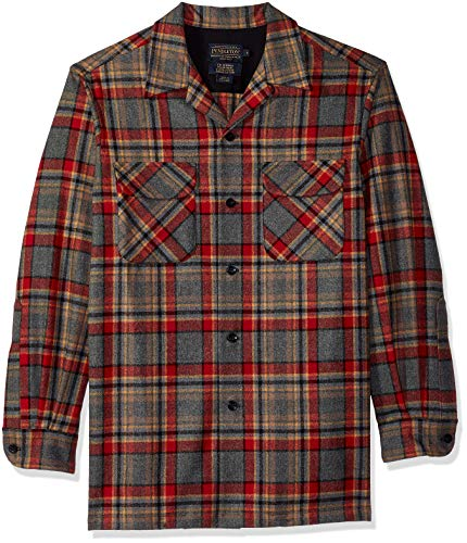 Pendleton Men's Classic Fit Long Sleeve Board Shirt, Camp Green Heather Plaid, XS