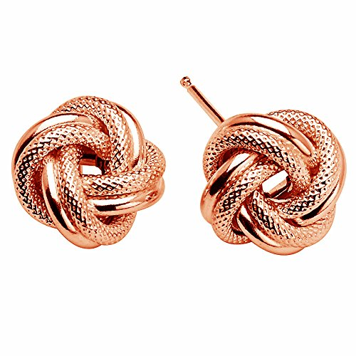 (D Jewelry 925 Sterling Silver Love Knot Rope Stud Earrings Rose Gold Plated Made in Italy (8mm))