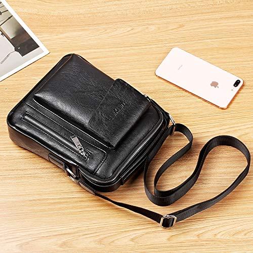 Outside Bag 24cm x 20cm x 6cm Universal Fashion Fooling Men Shoulder Messenger Bag Handbag MUMUWU Sizing: L Color : Black