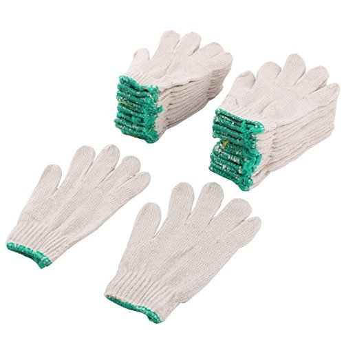 DealMux 12 Pairs White Factory Industry Knitted Cotton Work Protect Gloves ()