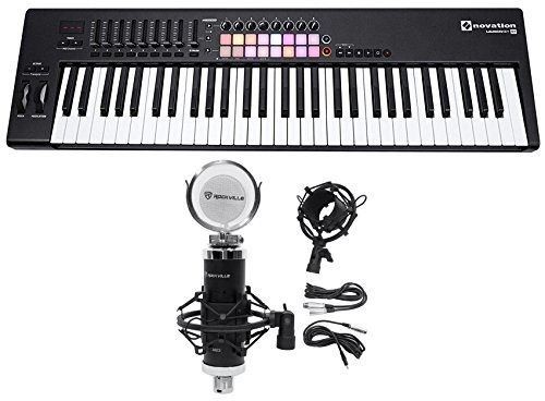Novation LAUNCHKEY 61 MK2 MK11 61-Key USB/MIDI Controller Keyboard+Studio Mic -