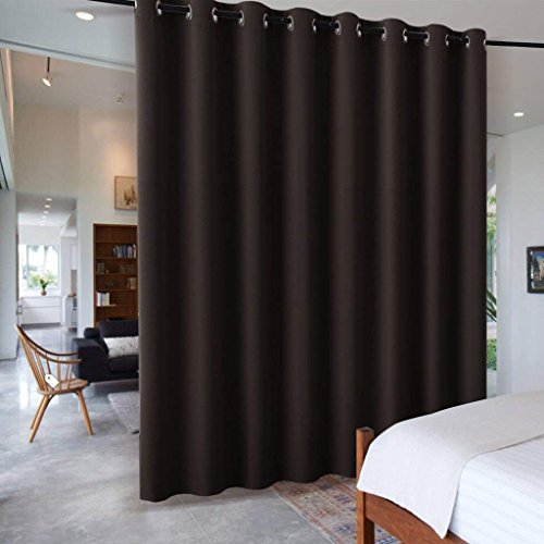 RYB HOME Blackout Office Room Divider Energy Efficient Furniture Protected Large Panel for Wall Space, Easy Hang on Rods or with Hooks for Dressing Room, Wide 15ft x Long 8ft, Brown, 1 Panel (Furniture Room Dividing)