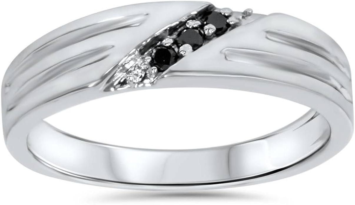 Black Diamond Mens Wedding Band Ring 14k White Gold Amazon Com