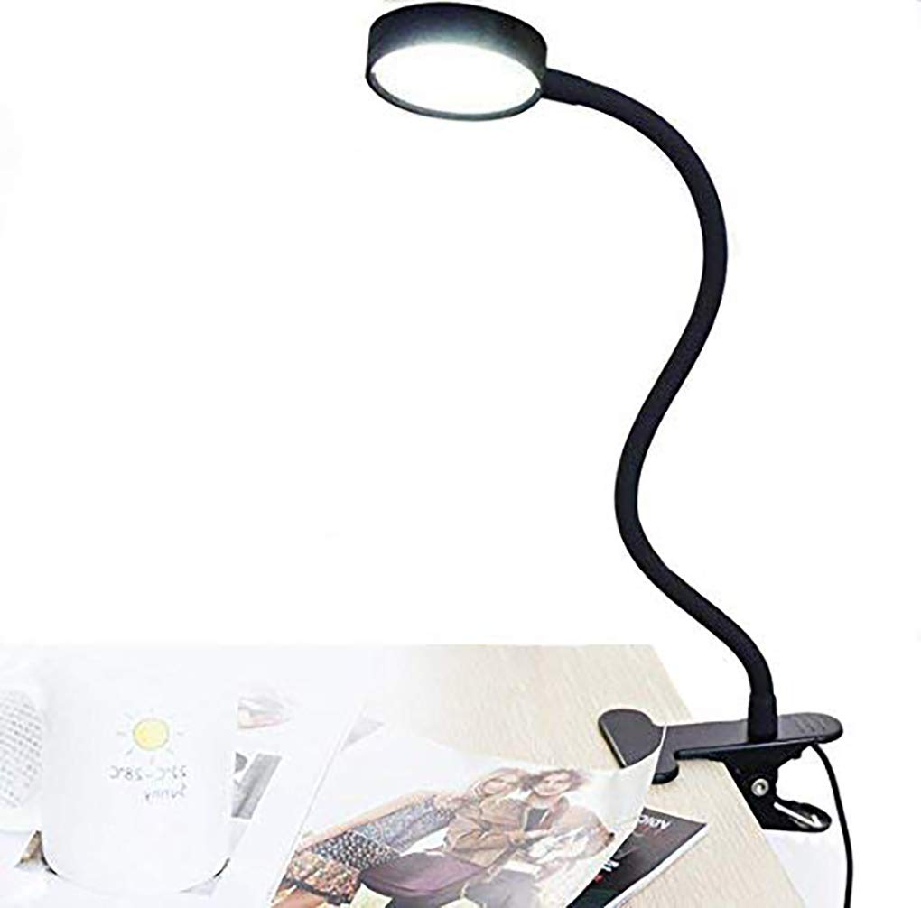 W-LITE LED USB Clip on Night Reading Light for Bed Headboard-Eye Care Desk Lamp with Clamp for Kids/Book/Dorm Room/Bedside/Table Lighting,US Adapter Included