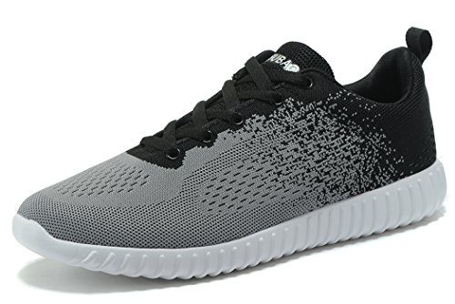 KESUBAO Herren stricken Breathable Casual Sneakers Leichtathletik Tennis Walking Outdoor Sports Laufschuhe Grau schwarz